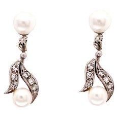 14k White Gold Pearl And Diamond Dangle Earrings