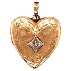 Retro 14k Yellow Gold Heart Locket Pendant