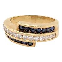 18k Yellow Gold Sapphire And Diamond Bypass Style Band