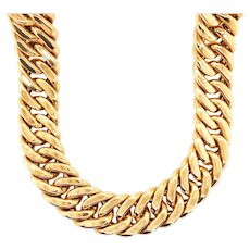 Vintage 18k Yellow Gold Large Curb Link Necklace