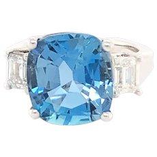 Platinum Cushion Cut Aquamarine And Diamond Ring