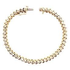14 Yellow Gold Diamond Tennis Bracelet