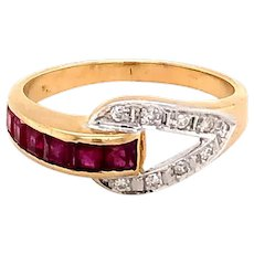 14k Y/G Ruby and Diamond Band
