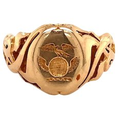 14K Yellow Gold Antique Crest Ring
