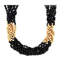 14K Yellow Gold Onyx Necklace