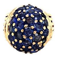 14K Yellow Gold Retro Sapphire Ring