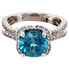 Platinum and Zircon Diamond Ring