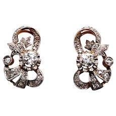 Platinum over Gold Edwardian Diamond Earrings