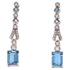 Platinum Aquamarine and Diamond Drop Earrings