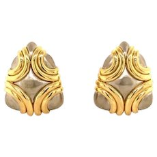 18k White and Yellow Gold Clip Earrings