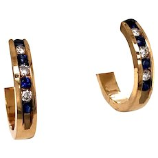 14k Yellow Gold Sapphire and Diamond Hoop Earring
