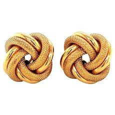 14k Yellow Gold Lovers Knot Earrings