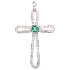14k White Gold Emerald and Diamond Cross Pendant