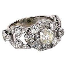 Platinum and White Gold Diamond Edwardian Ring