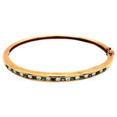 18k Yellow Gold Emerald and Diamond Bangle Bracelet