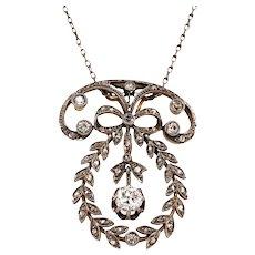 Edwardian Platinum Over Gold Diamond Pendant
