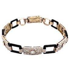 Edwardian Platinum and Gold Diamond Enamel Bracelet