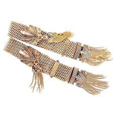 Pair of Victorian 14k Yellow Gold Enamel Slide Bracelet