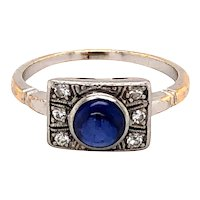Platinum Over Gold Edwardian Sapphire and Diamond Ring
