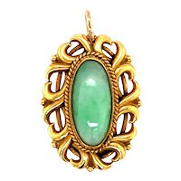 14K Yellow Gold Arts & Craft Jade Pendant