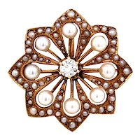 14k Yellow Gold Victorian Pearl and  Diamond Brooch