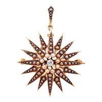 14k yellow gold Victorian seed pearl and diamond starburst pin/ pendant