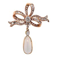 14k Yellow Gold Victorian Moonstone and Diamond Pendant