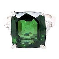 Platinum Green Zircon Diamond Ring