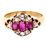 Antique 14K Yellow Gold, Ruby and Diamond Ring