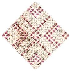 18K Yellow Gold Ruby and Diamond Pin/Pendant