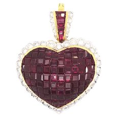 18K Yellow Gold Ruby and Diamond Heart pendant