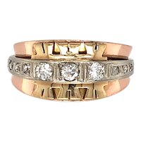 Retro 14K White and Rose Gold Diamond Ring