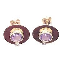 14k Yellow Gold Amethyst and Diamond Earrings