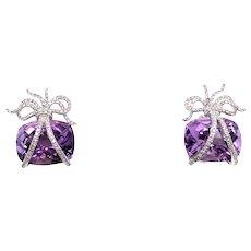 18K White Gold Amethyst and Diamond Earrings