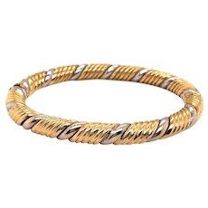 18k Yellow and White Gold Bangle Bracelet