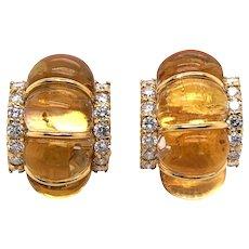 18k Yellow Gold  Crystal and Diamond Earrings