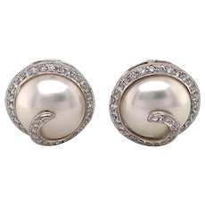 18k White Gold Pearl and Diamond Earring