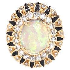 14K Yellow Gold Opal, Diamond and Enamel Ring