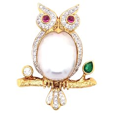 18K Yellow Gold Pearl, Ruby, Emerald and Diamond Owl Brooch