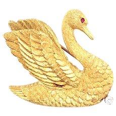 18k Yellow Gold Diamond Swan Brooch