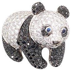 18k White Gold Black and White Diamond Panda Bear brooch/Pendant