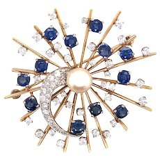 14k Yellow Gold and Platinum Diamond, Pearl and Sapphire Pin/Pendant