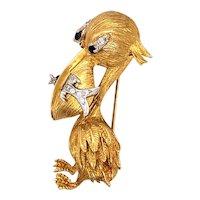 18k Yellow Gold Sapphire and Diamond Pelican Brooch