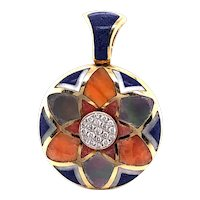 14k Yellow Gold Asch Grossbartd Diamond, Coral, Lapis and Mother of Pearl Pendant