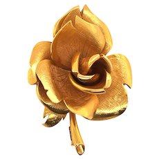 18k Yellow Gold Rose Brooch