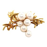 14k Yellow Gold Pearl Brooch