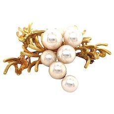 14k Yellow Gold Pearl Brooch