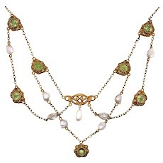 Antique 14K Yellow Gold Peridot and Pearl Festoon
