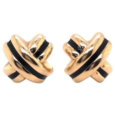 14k Yellow Gold Enamel X Earring
