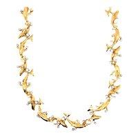 18K Yellow Gold Dolphin Diamond Necklace